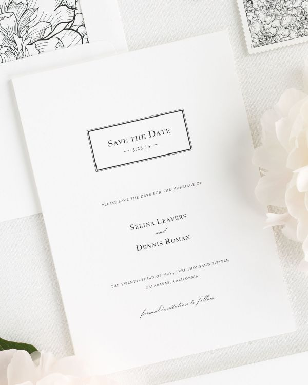 Boxed Monogram Save the Date Cards