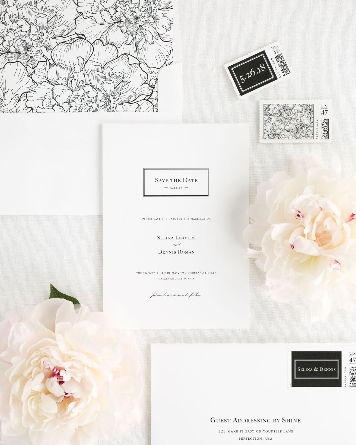 Save the Date with Black Peony Envelope Liner and Custom Postage