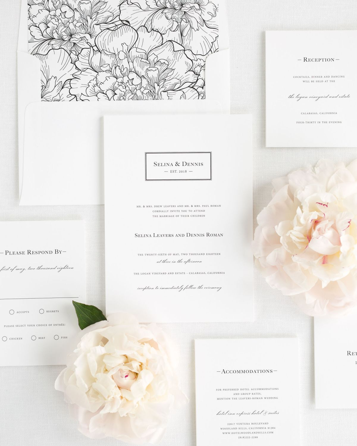 Wedding Invitation Suite with Black Floral Envelope Liner