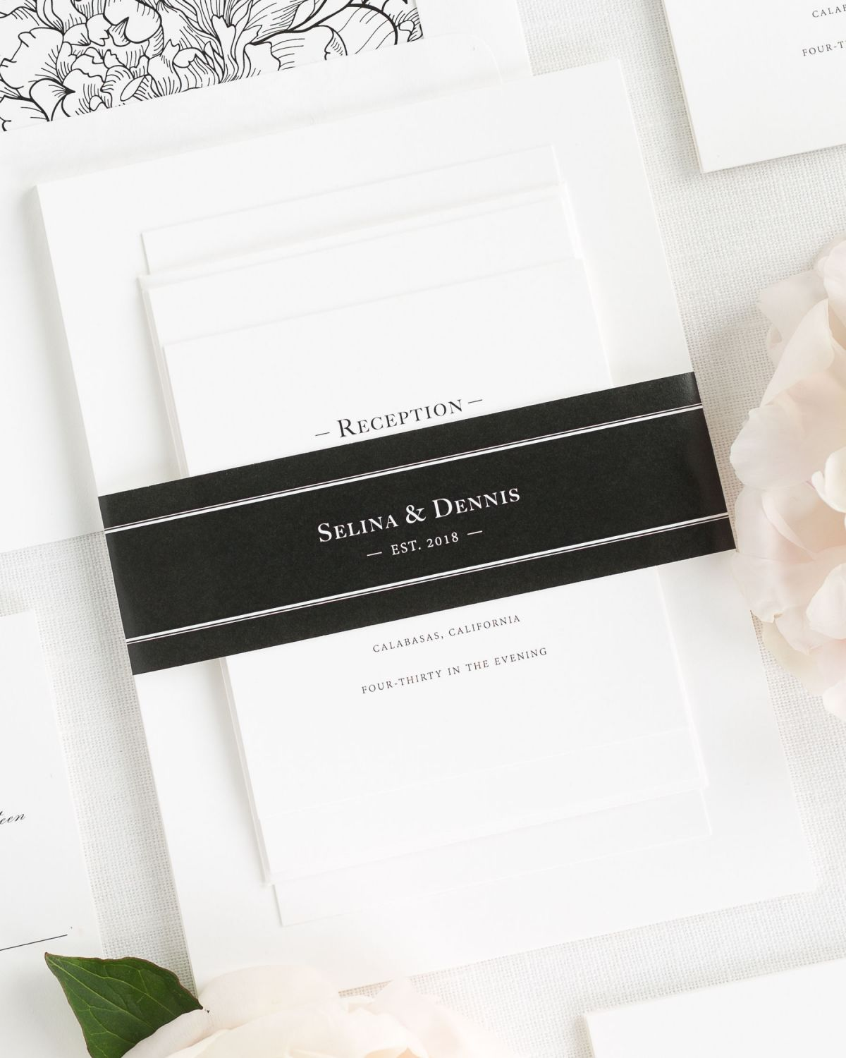 Black Wedding Invitations with Belly Band and Floral Envelope Liner