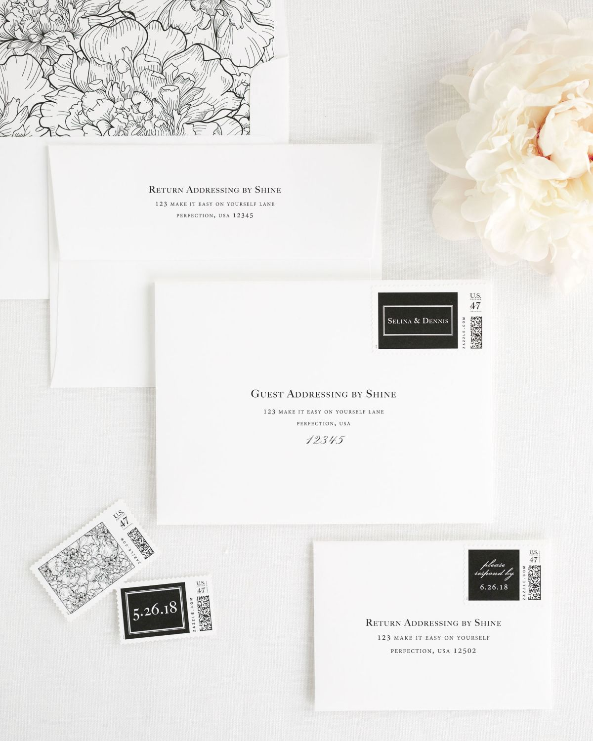 Wedding Invitation Envelopes with Black Custom Stamps and Floral Liner