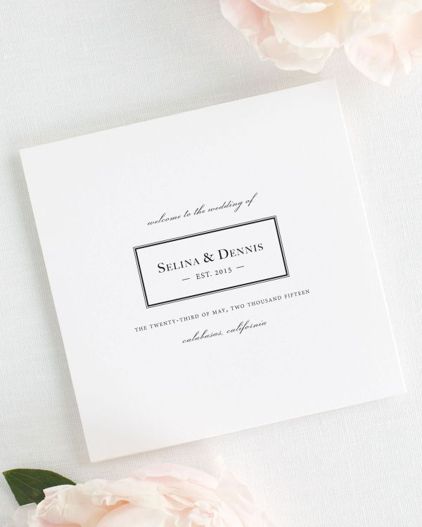 Boxed Monogram Wedding Programs