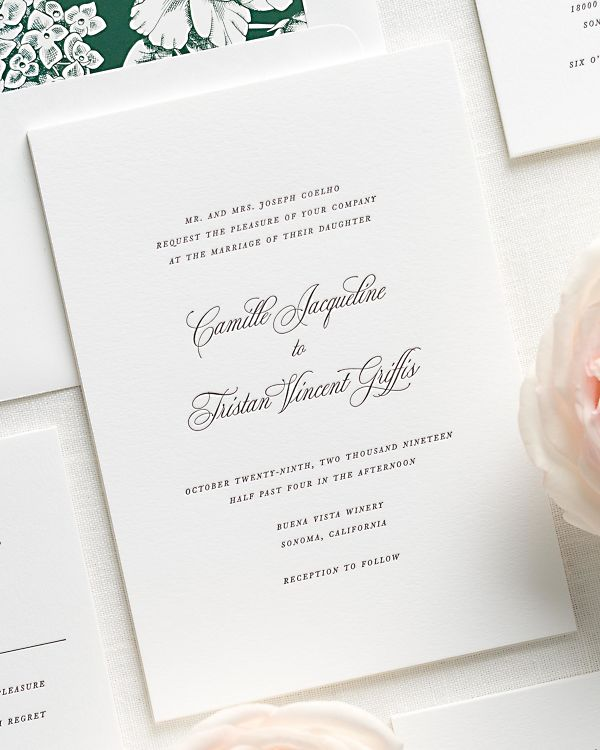 Classic script letterpress wedding invitations for Letterpress wedding invitations manila philippines