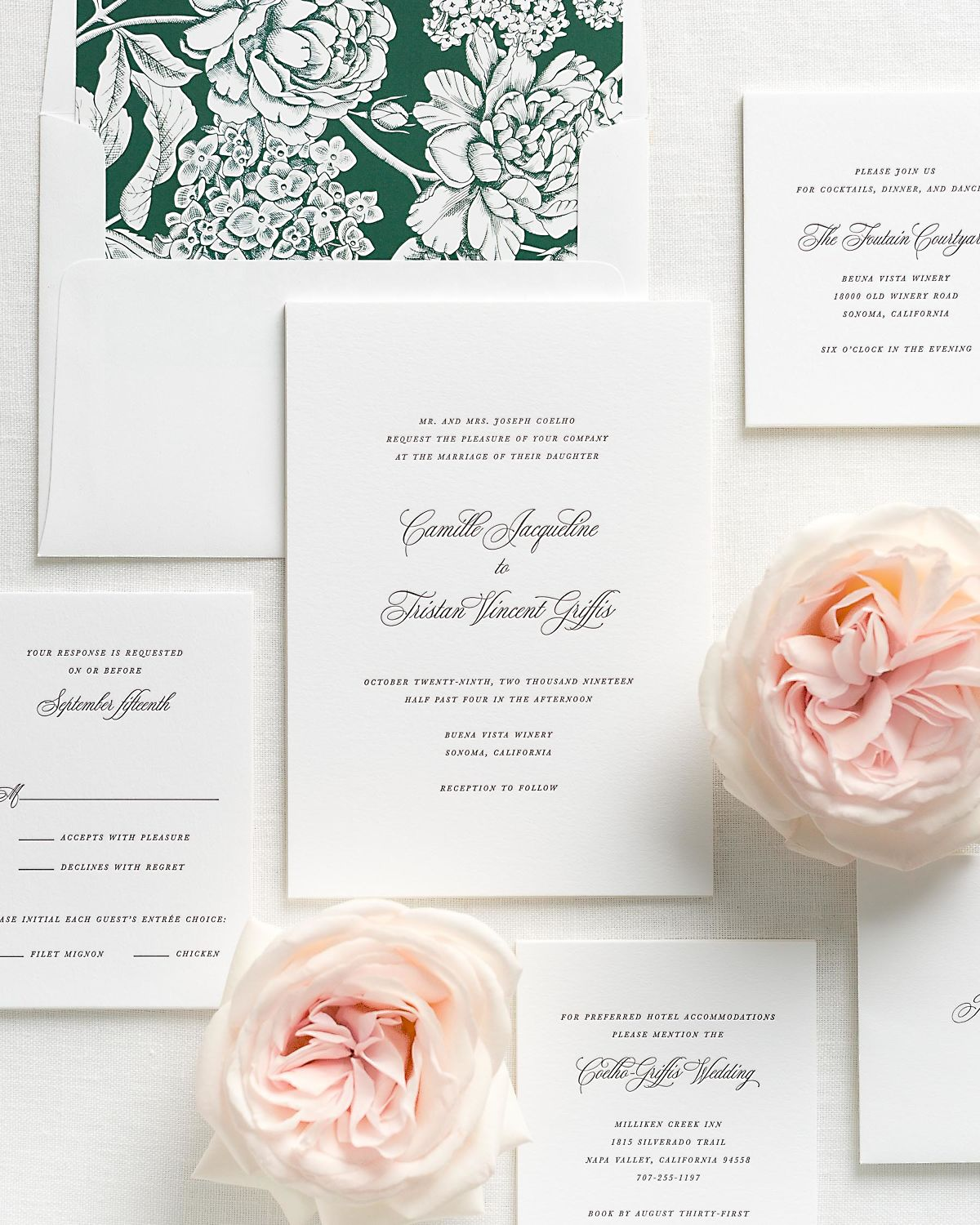 Letterpress Wedding Invitations with Ivy Hydrangea Envelope Liner and Matching Accessories