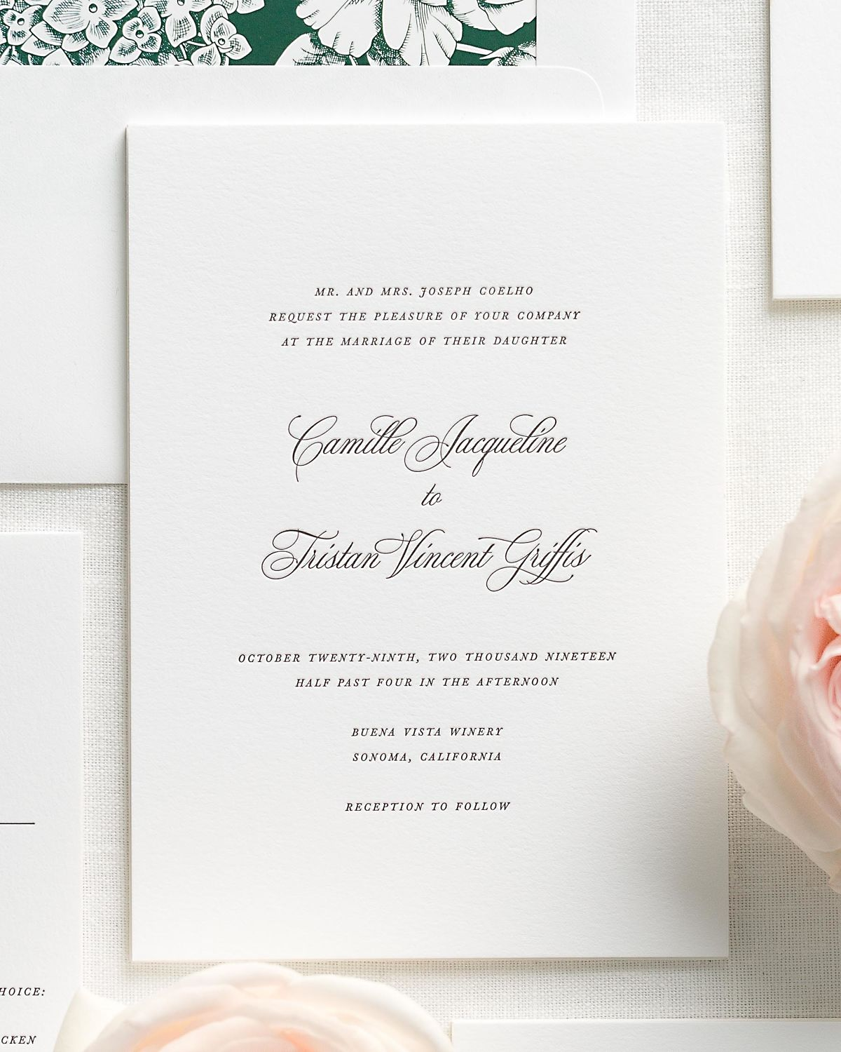 Ivy Wedding Invitation Suite with Letterpress Printing