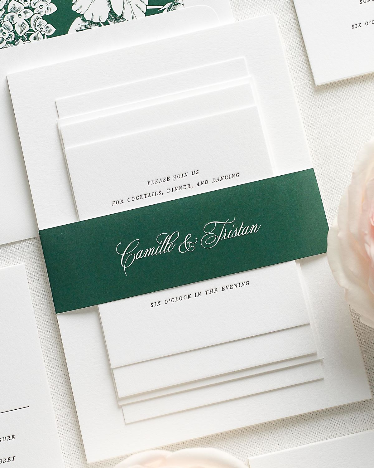 Wedding Invitations with Ivy Belly Band and Letterpress Printing