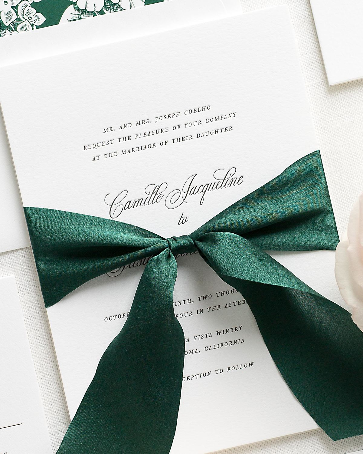 Letterpress Wedding Invitations with Botanical Ribbon