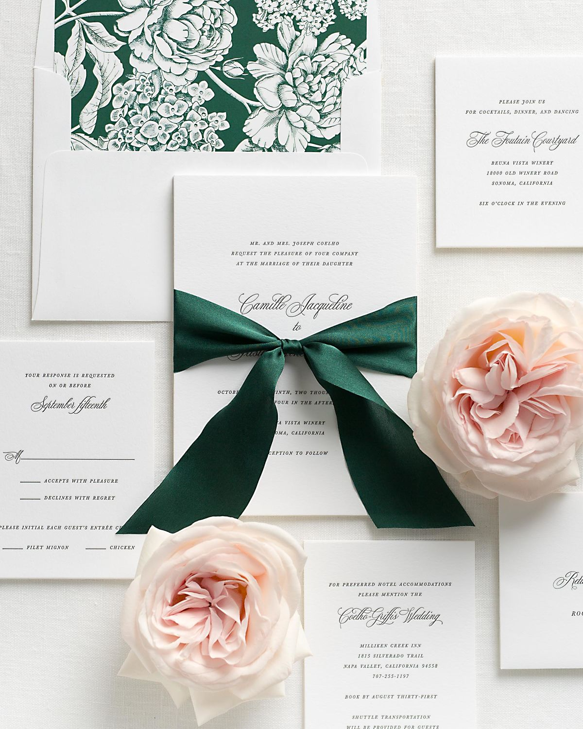 Ivy Wedding Invitations with Botanical Silk Ribbon and Letterpress Printing