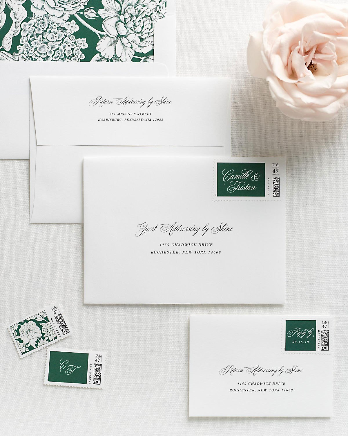Wedding Invitation Envelopes with Pre-Printed Addresses and Matching Ivy Personalized Postage