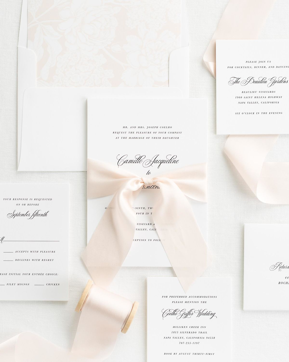 Pale Pink Wedding Invitations with Silk Ribbon