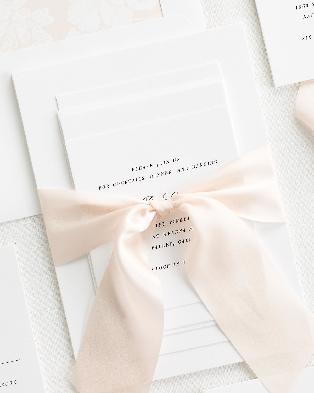 Complete Wedding Stationery Package With Pale Pink Ribbon And Enclosures