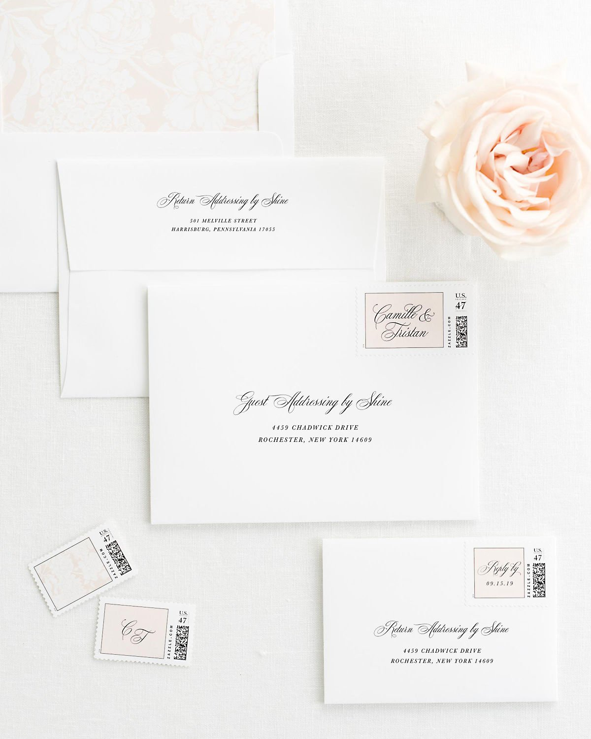 Wedding Invitation Envelopes with Pre-Printed Addresses and Matching Whipped Peach Custom Postage