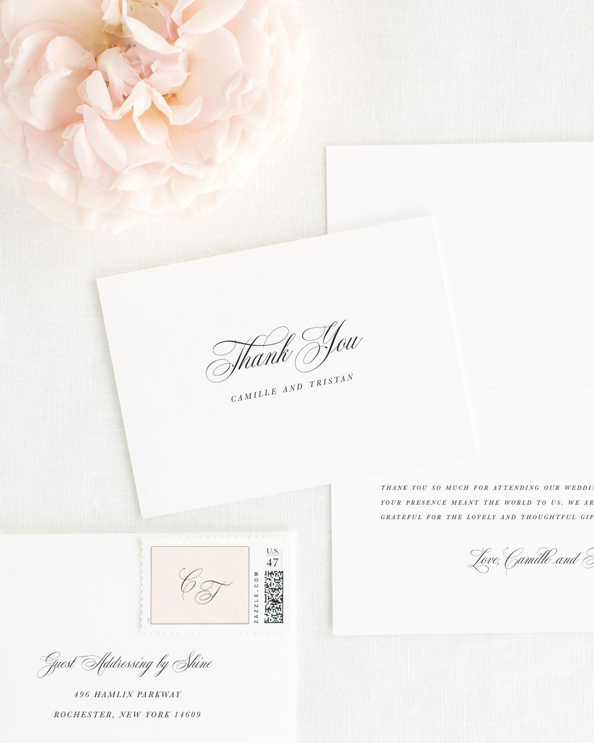 Small Script Names Thank You Cards for Weddings