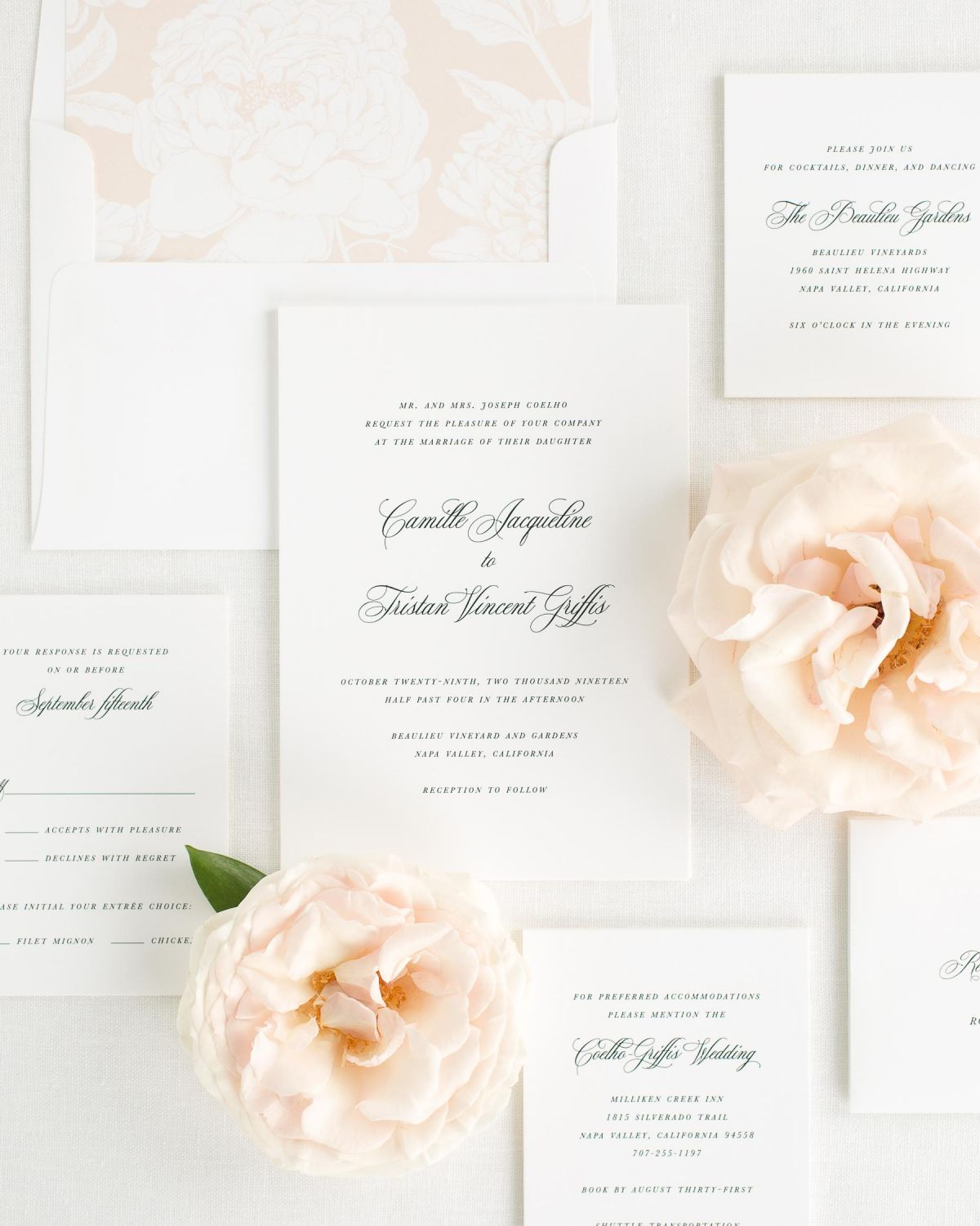 Wedding Invitation Suite with Whipped Peach Envelope Liner