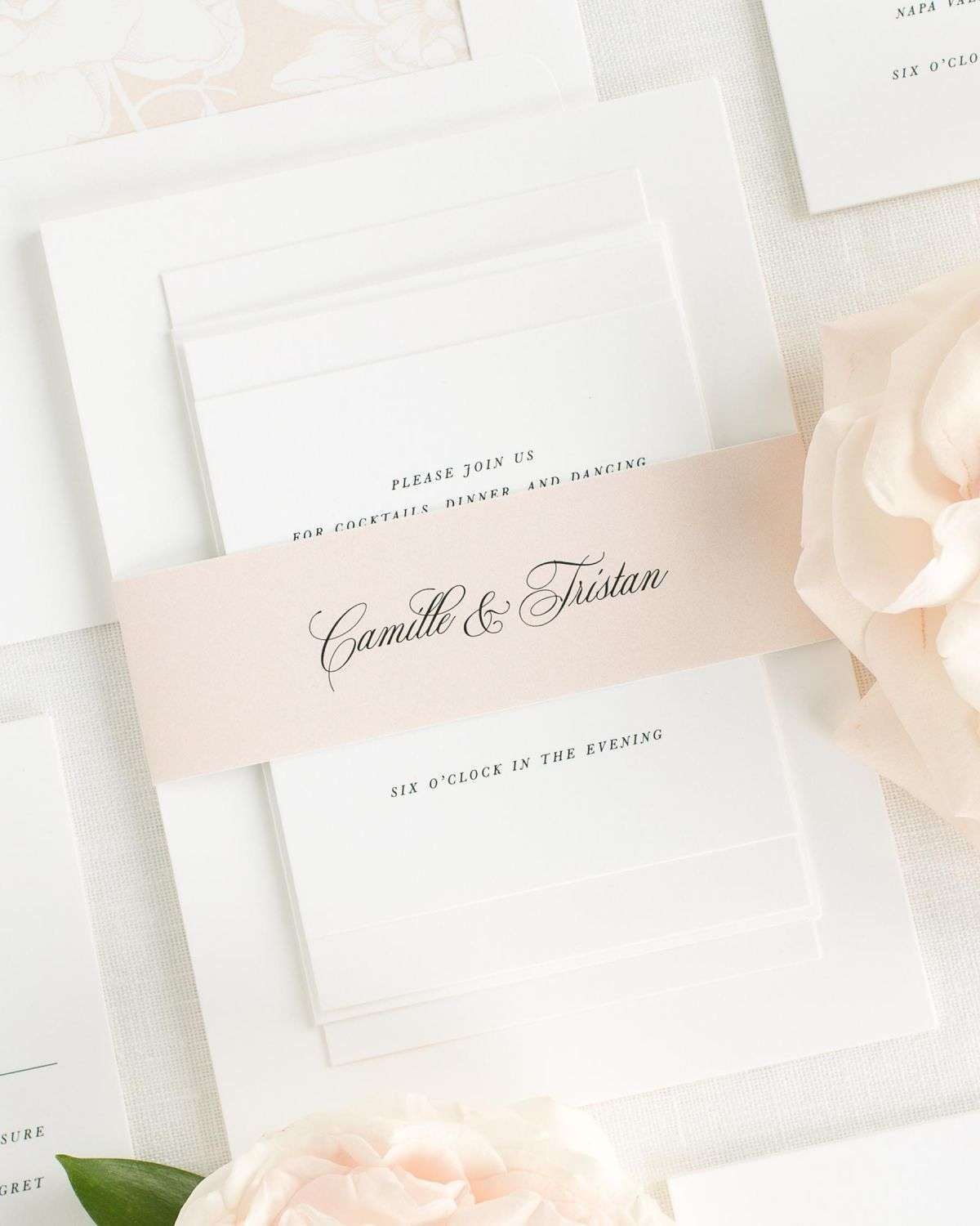 Whipped Peach Wedding Invitations with Belly Band and Blooms Envelope Liner