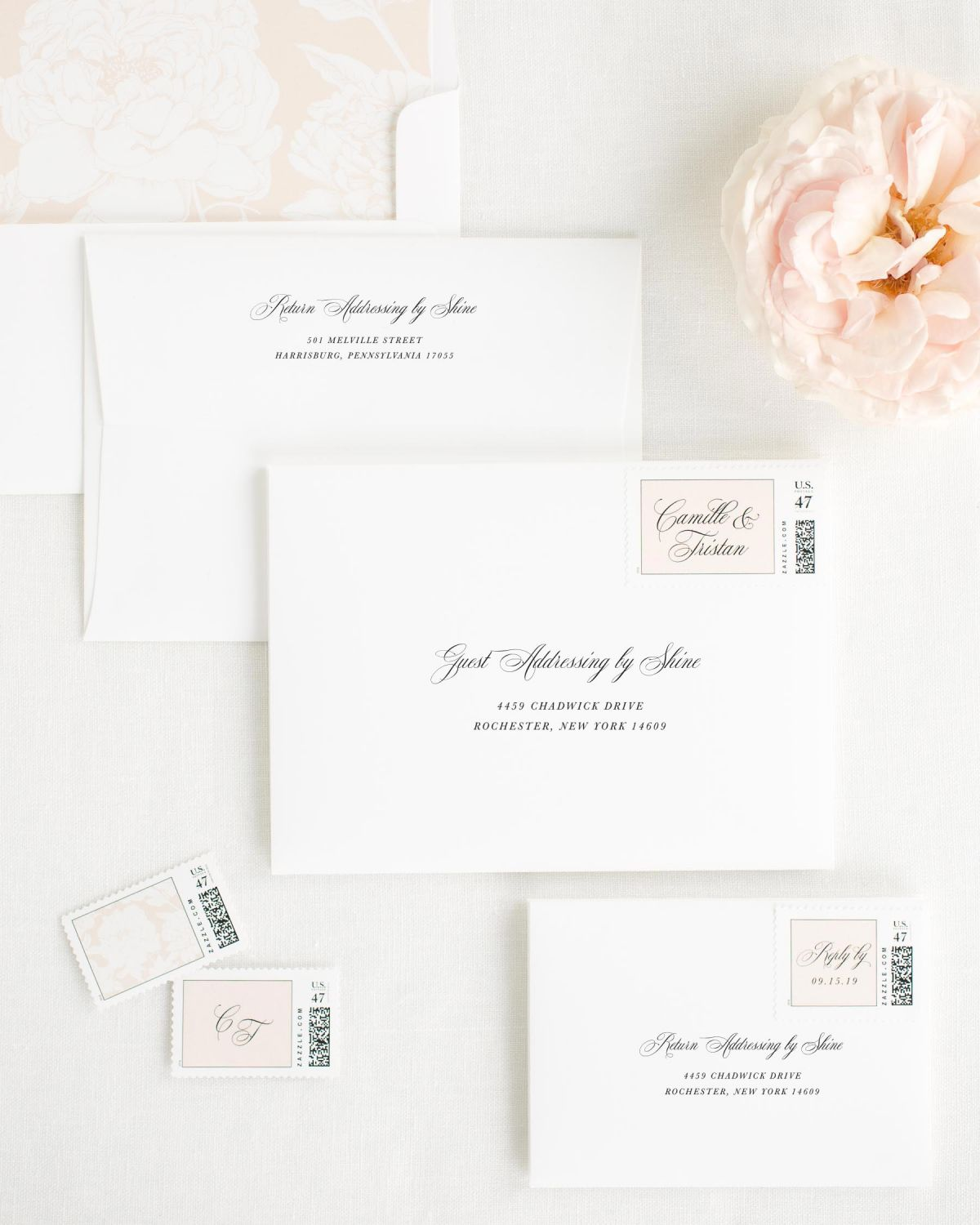Wedding Invitation Envelopes with Whipped Peach Custom Postage and Blooms Liner