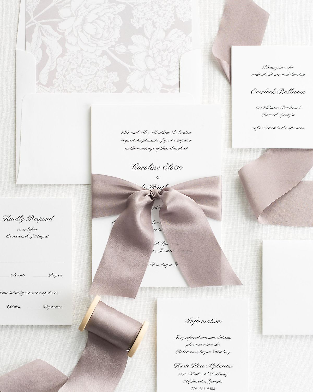 Sweet Pea Wedding Invitations with Silk Ribbon