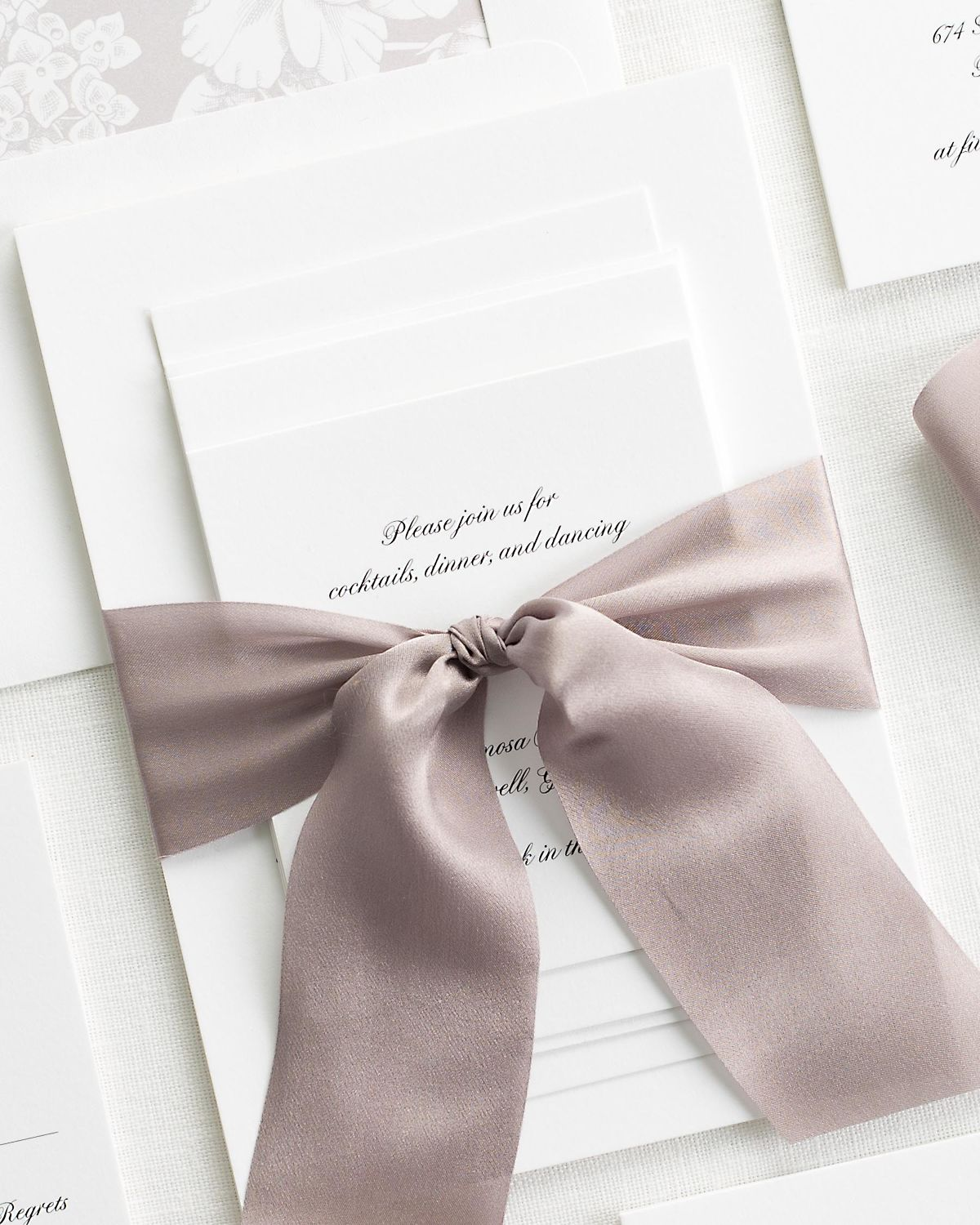 Complete Wedding Stationery Package with Heather Purple Ribbon and Enclosures