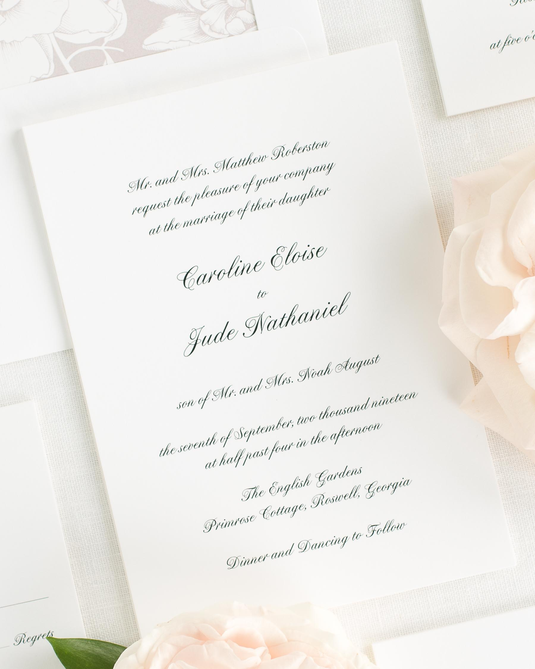Simple And Sweet Script Wedding Invitations
