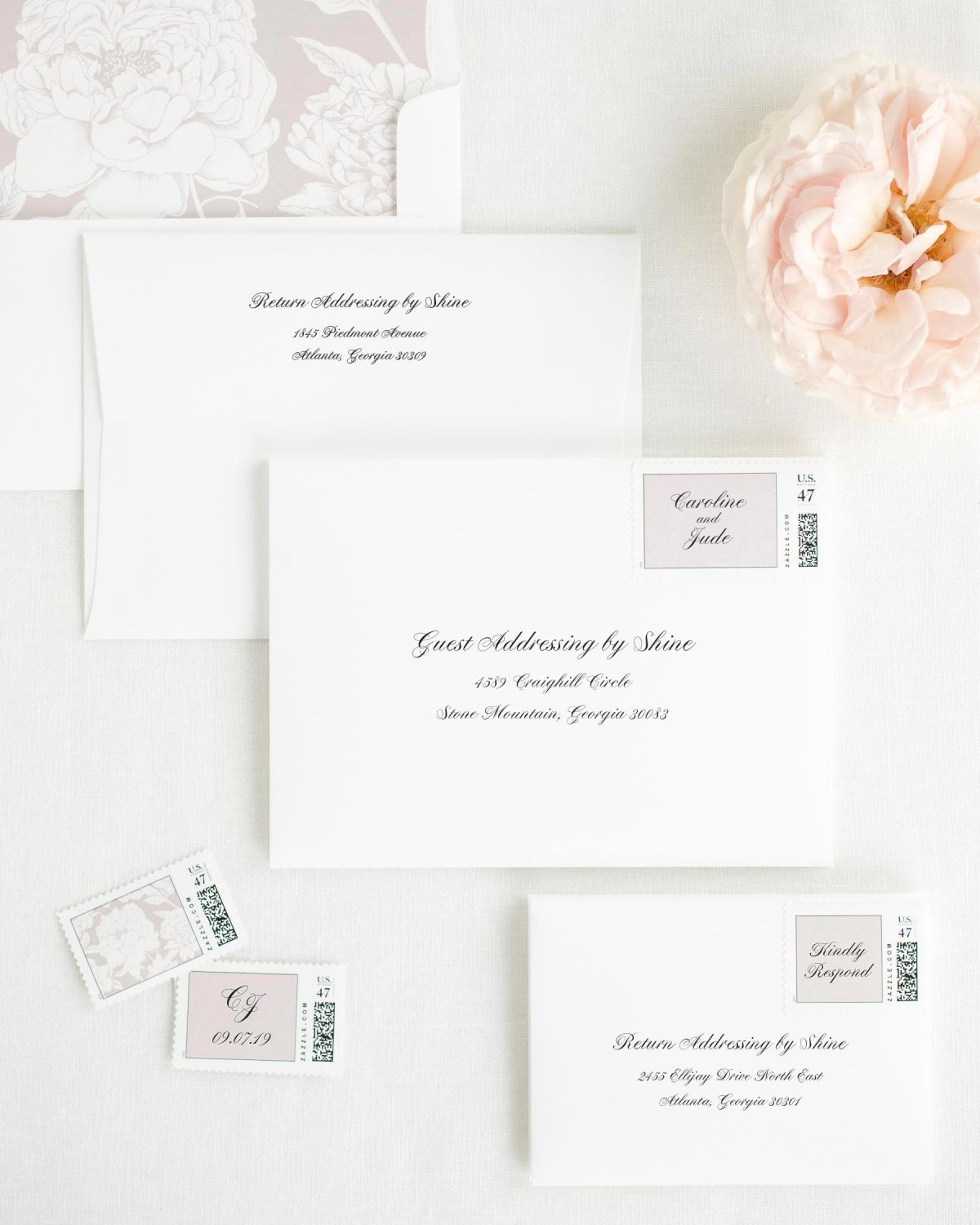 Wedding Invitation Envelopes with Sweet Pea Custom Stamps and Blooms Liner