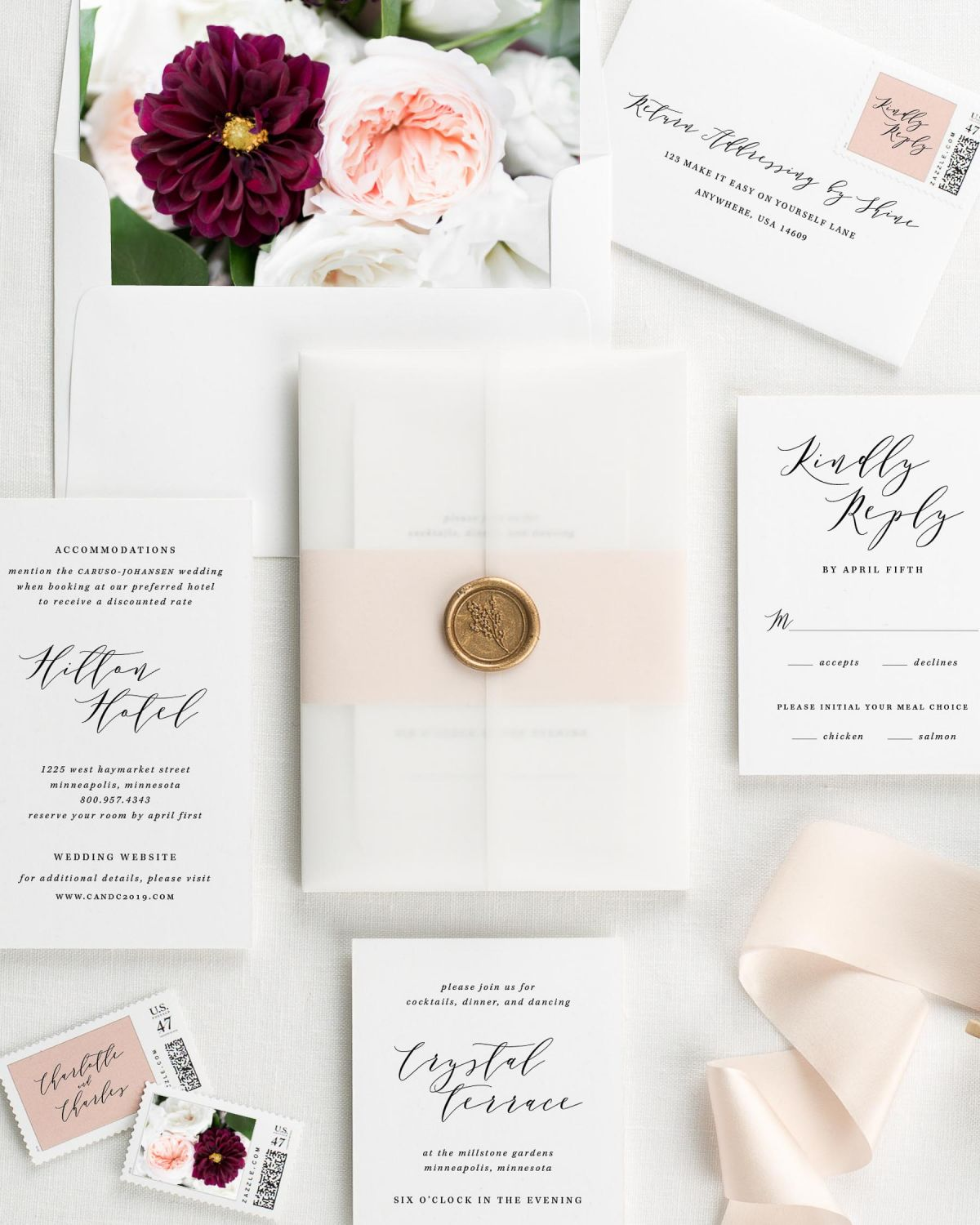 Charlotte Floral Wedding Invitations - Floral Wedding Invitations by ...