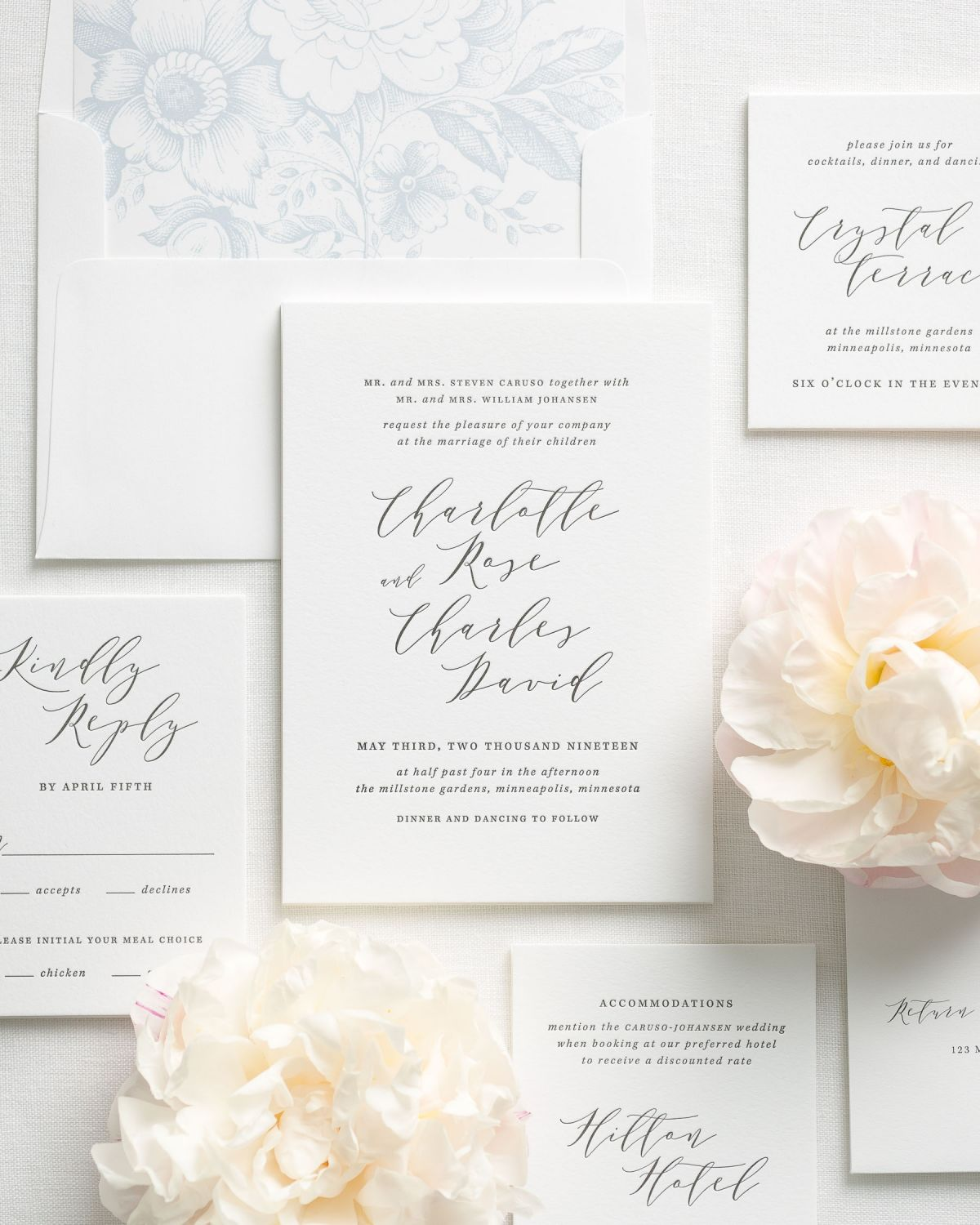 Modern Calligraphy Wedding Invitations with a dusty blue Floral liner