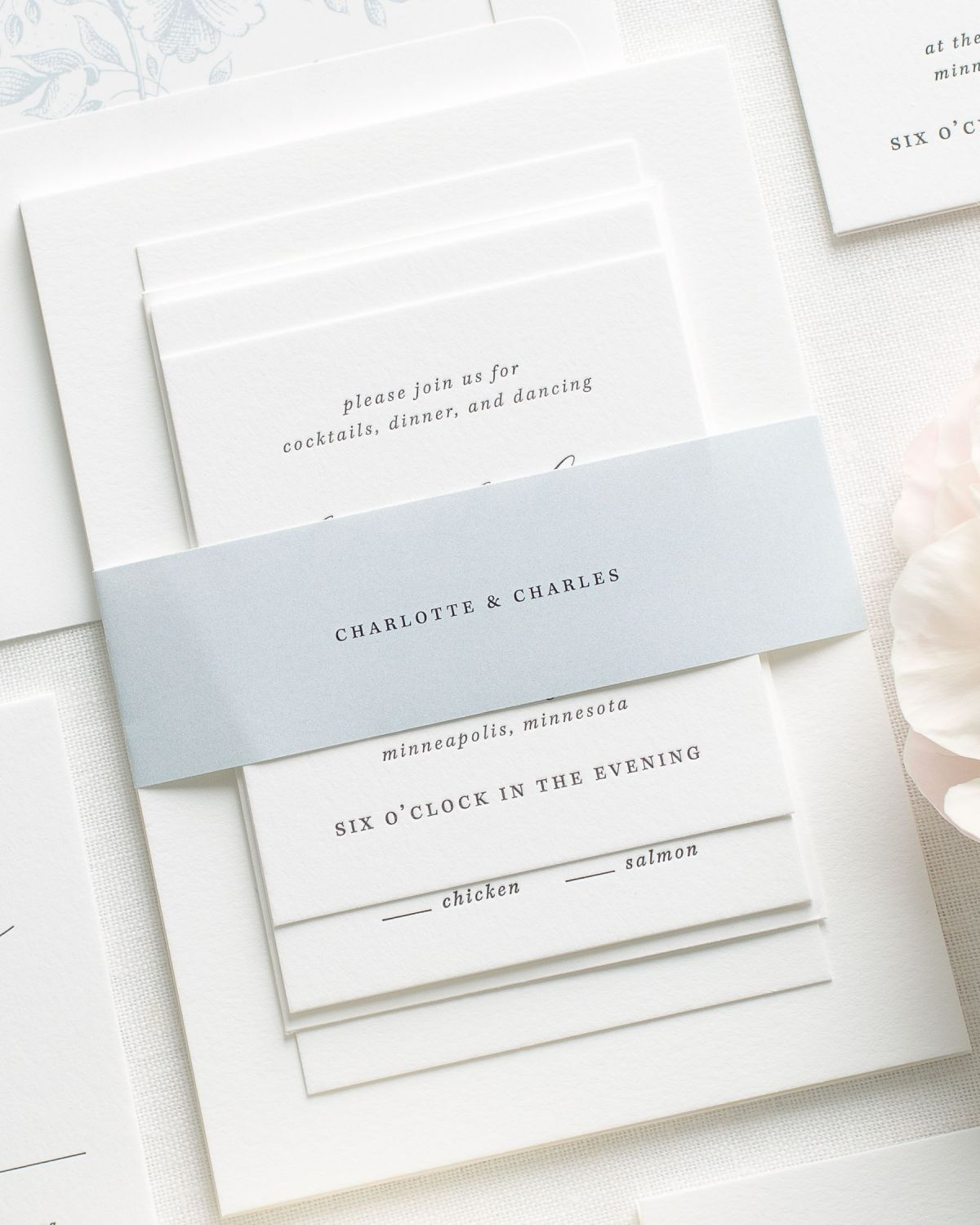 Light Blue Letterpress Wedding Invitations with Belly Bands