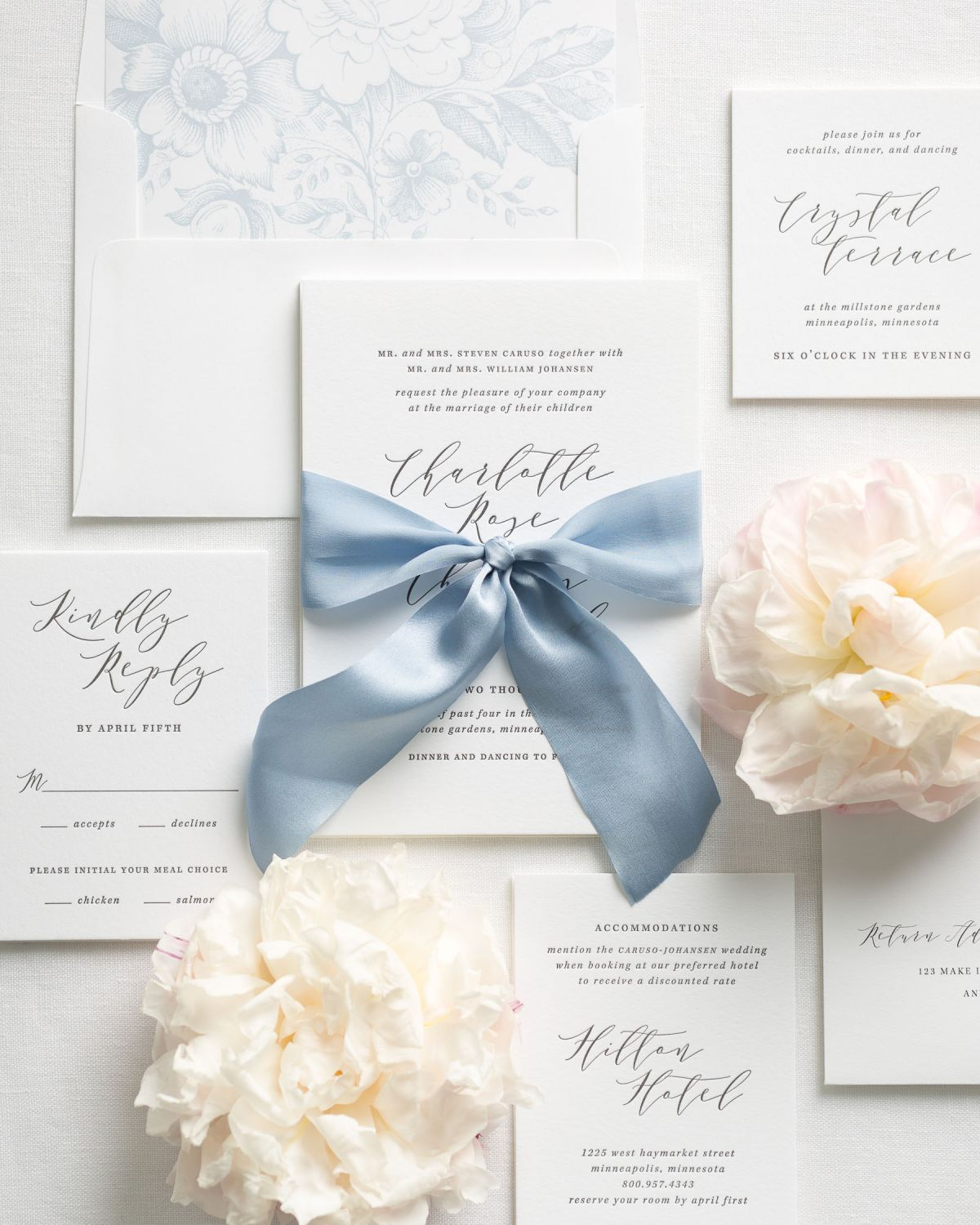 Dusty Blue Wedding Invitations with Letterpress Printing
