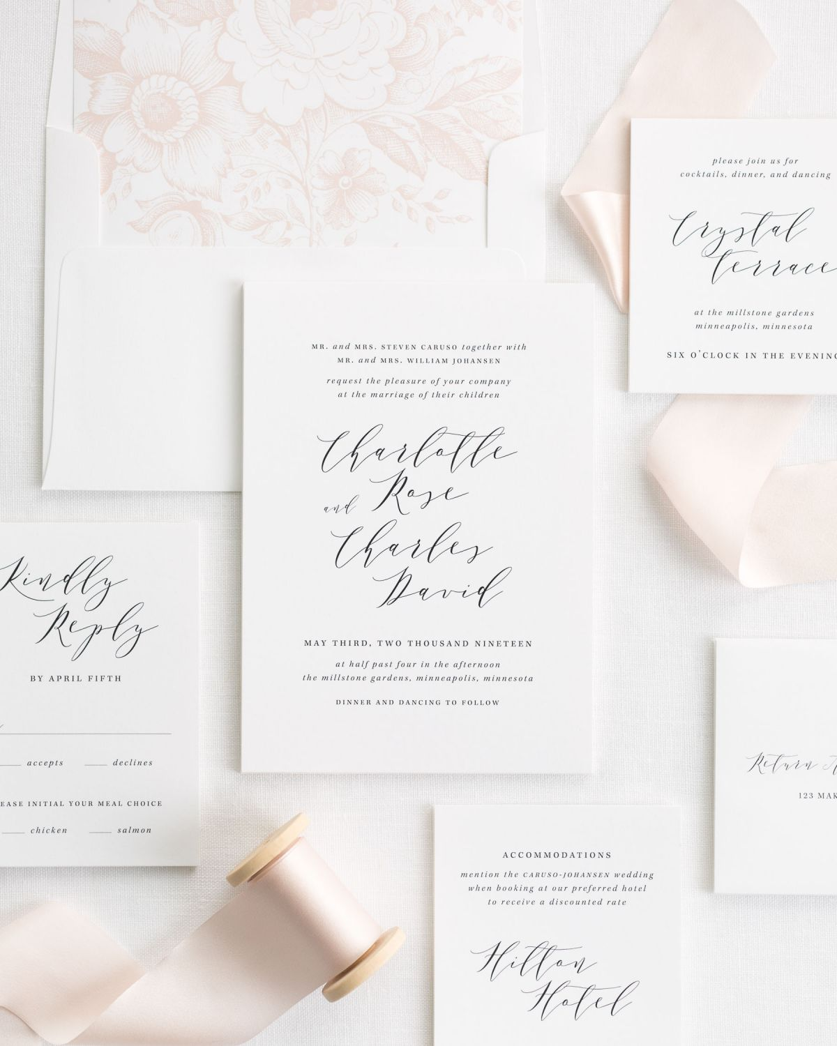 pale pink ribbon wedding invitations with a peony garden rose liner