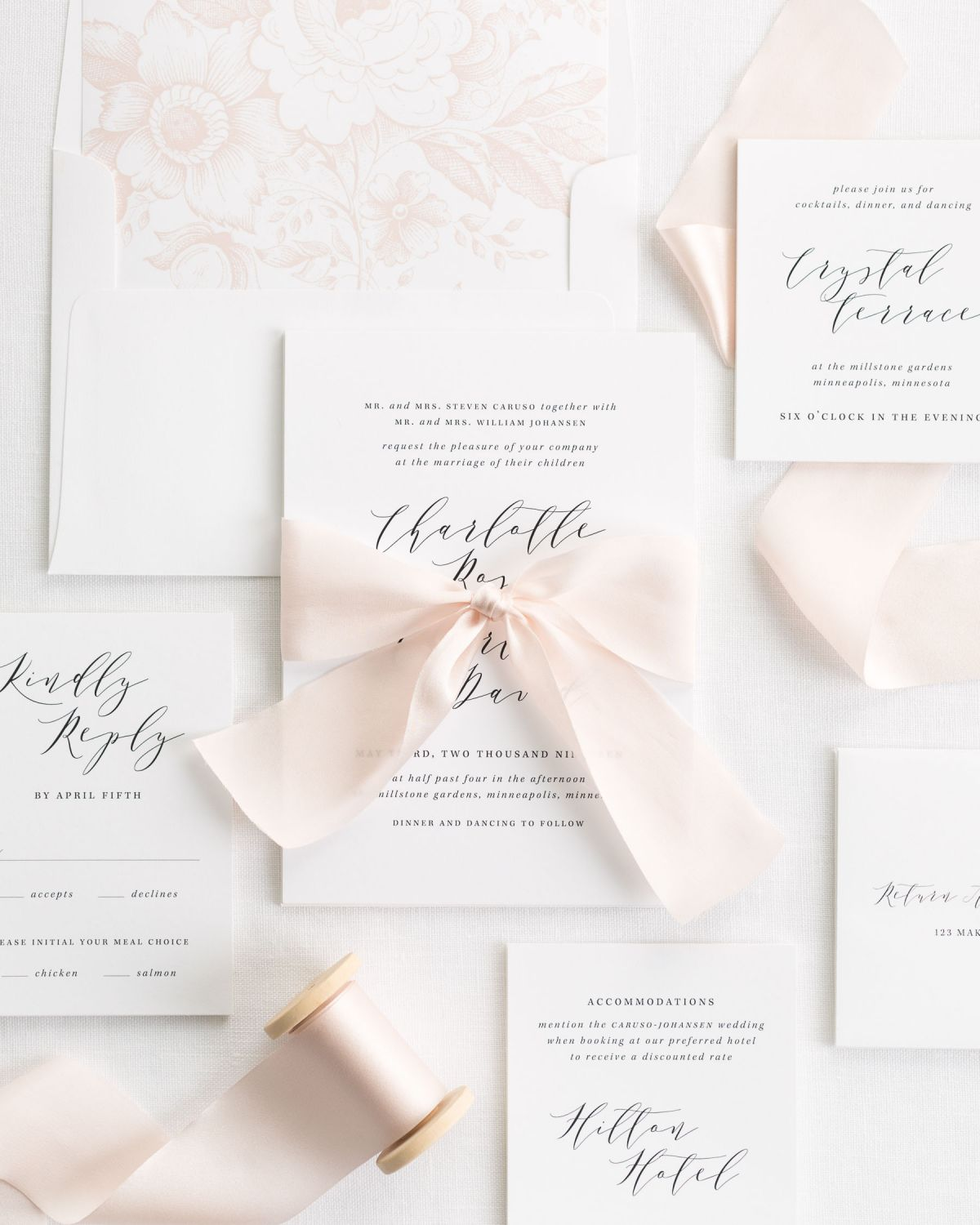 Complete Wedding Invitation Suite with Pale Pink Silk Riboon and Enclosures