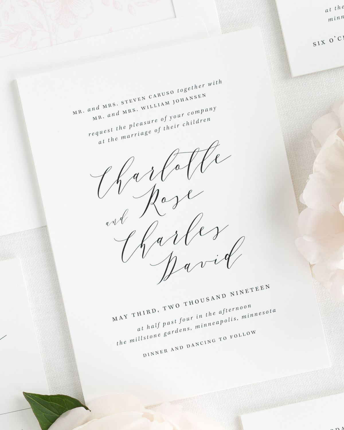 Modern Calligraphy Wedding Invitations with a Light Pink Floral Liner