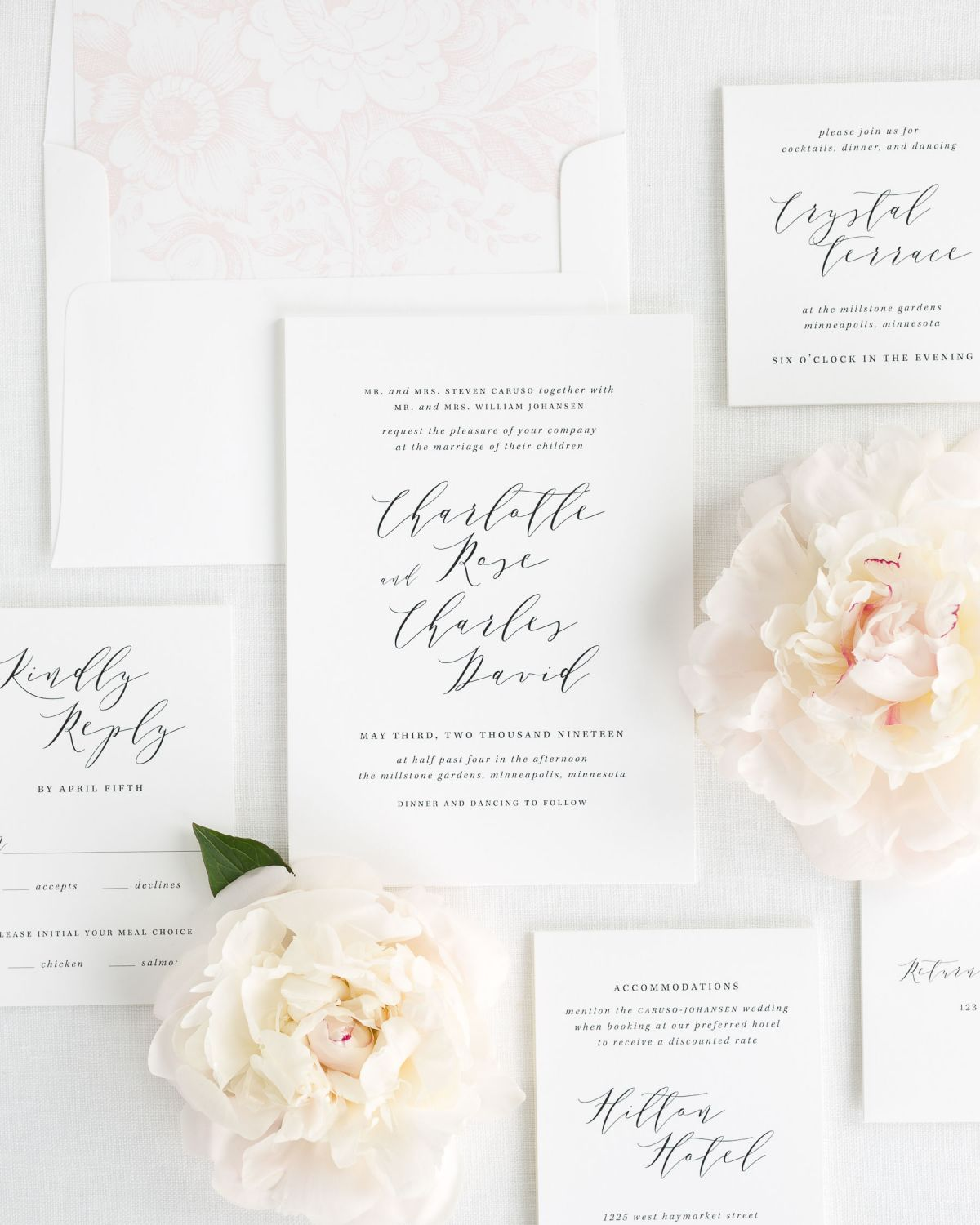 Modern Calligraphy Wedding Invitations with a floral envelope liner