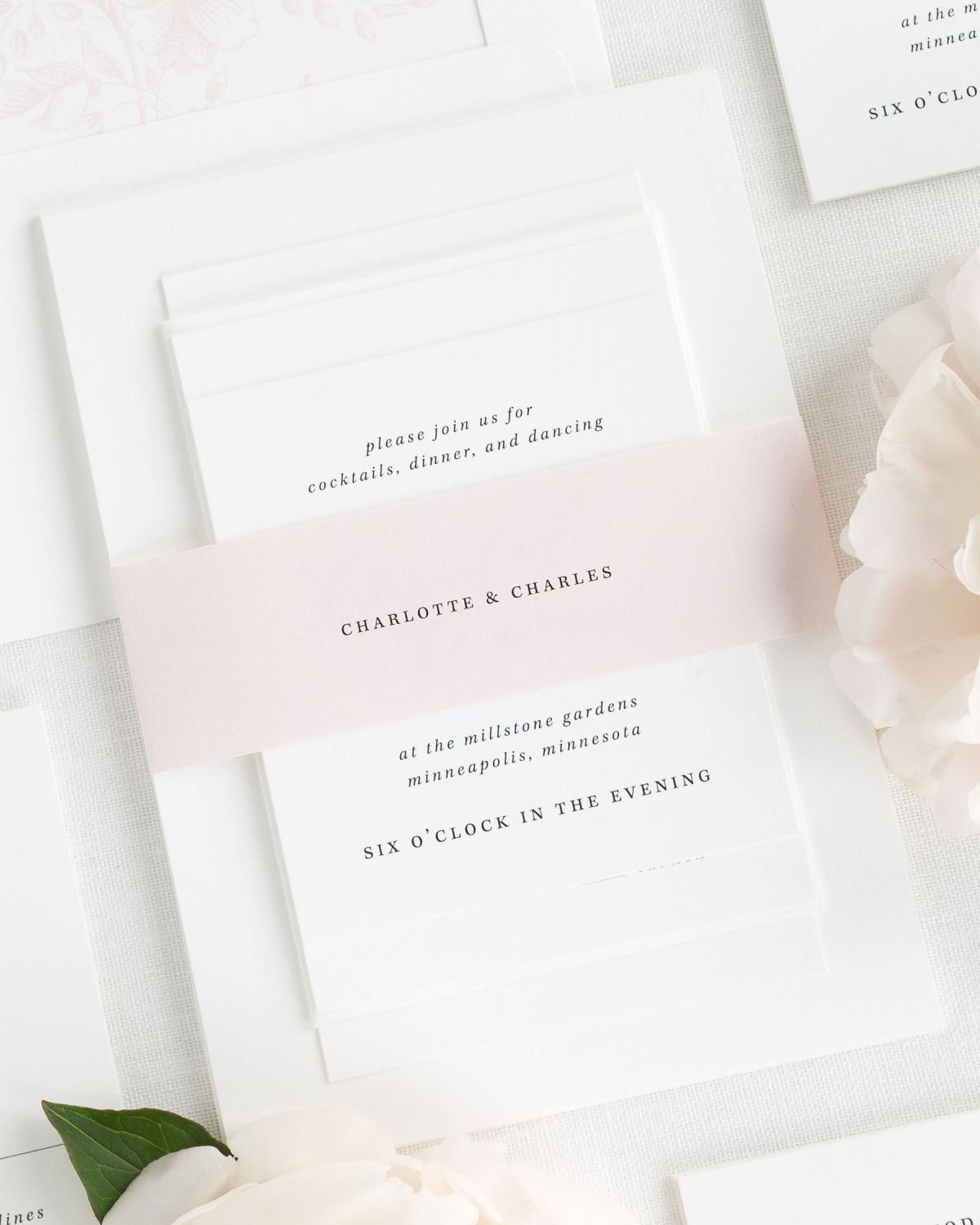 Light Pink Wedding Invitations with Belly Band