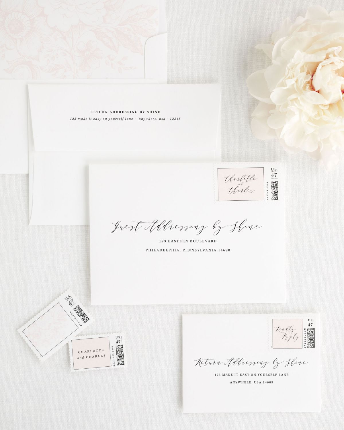 Wedding Invitation Envelopes with Guest Addressing, Calligraphy, and Custom Stamps