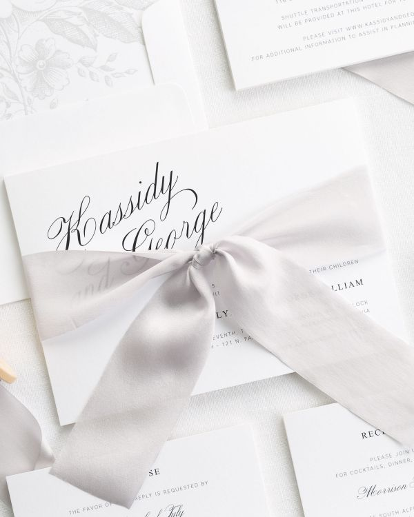 Charming Elegance Ribbon Wedding Invitations