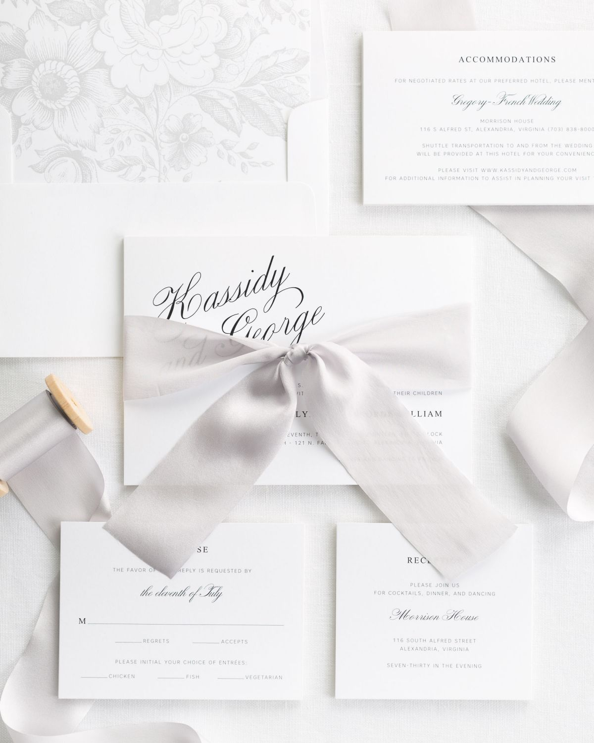Complete Wedding Invitaiton Set with Mocha Ribbon and Enclosures