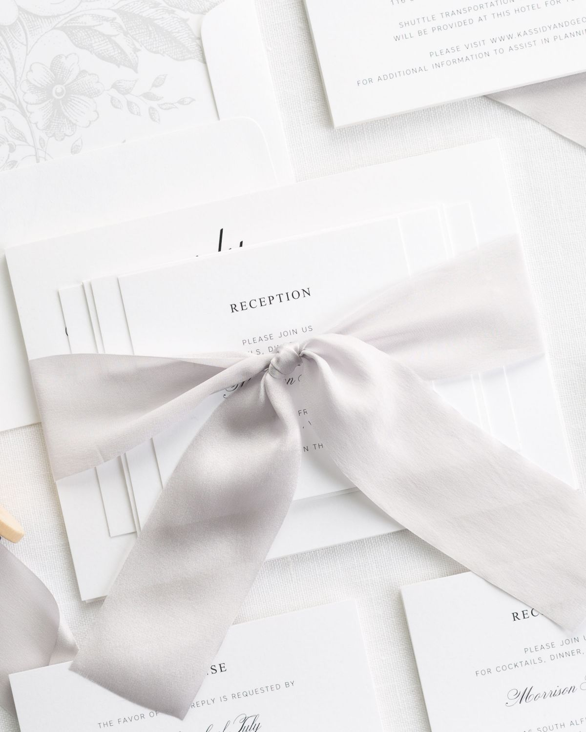 Platinum Wedding Invitations with Silk Ribbon