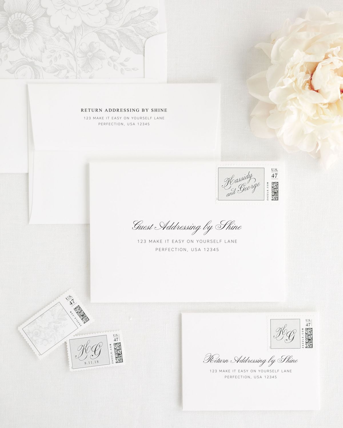Wedding Invitation Envelopes with Silver Personalized Postage and Floral Liner
