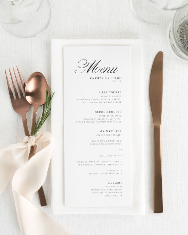 Charming Elegance Wedding Menus