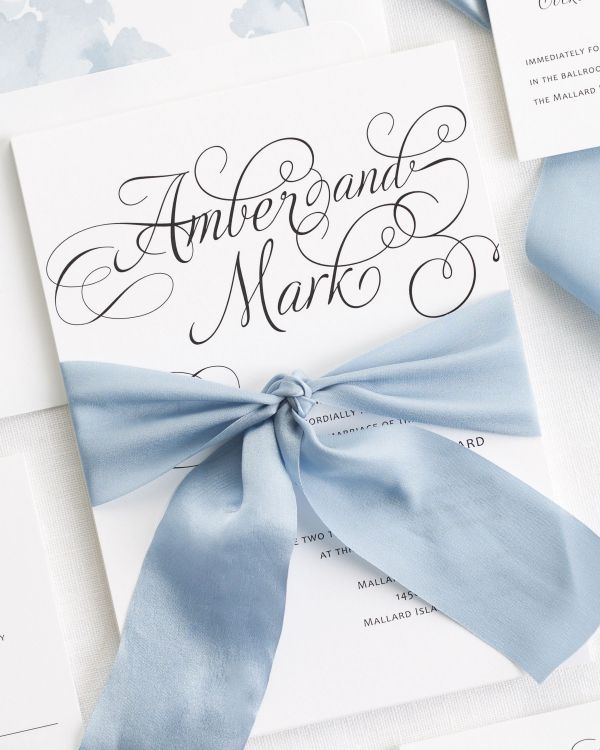 Charming Script Ribbon Wedding Invitations