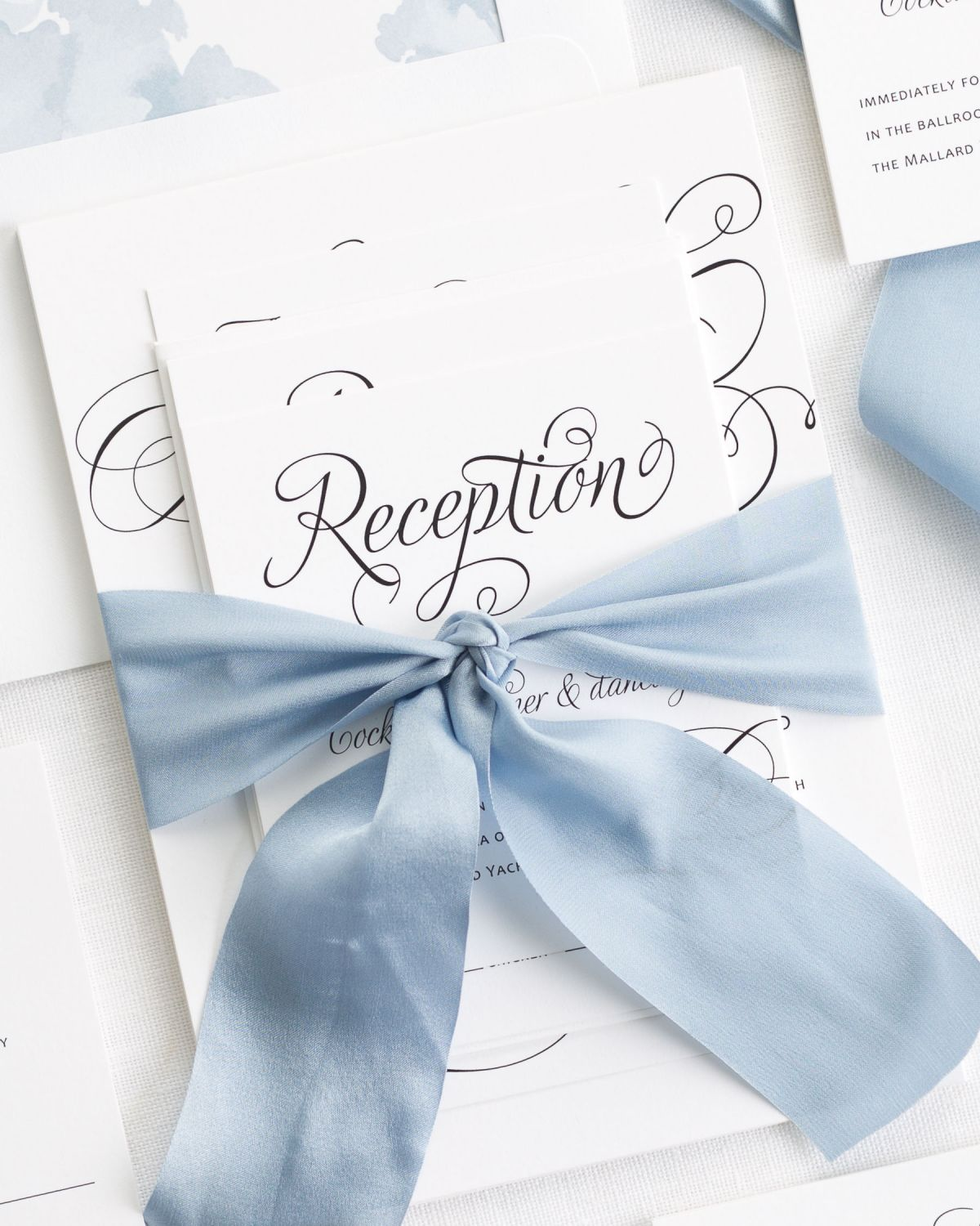 Blue Wedding Invitations with Silk Ribbon