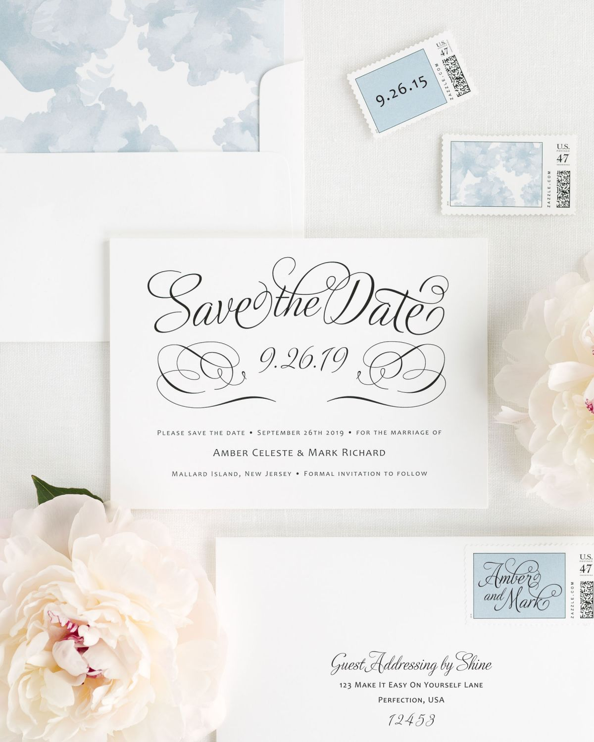 Save the Date with Dusty Blue Envelope Liner and Personalized Stamps