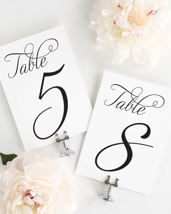 Charming Script Table Numbers