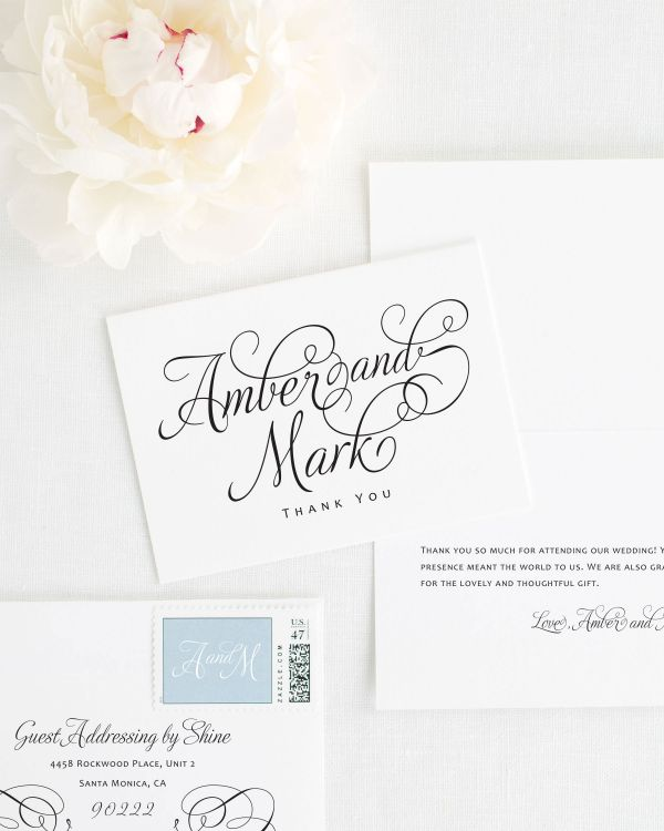 Charming Script Thank You Cards