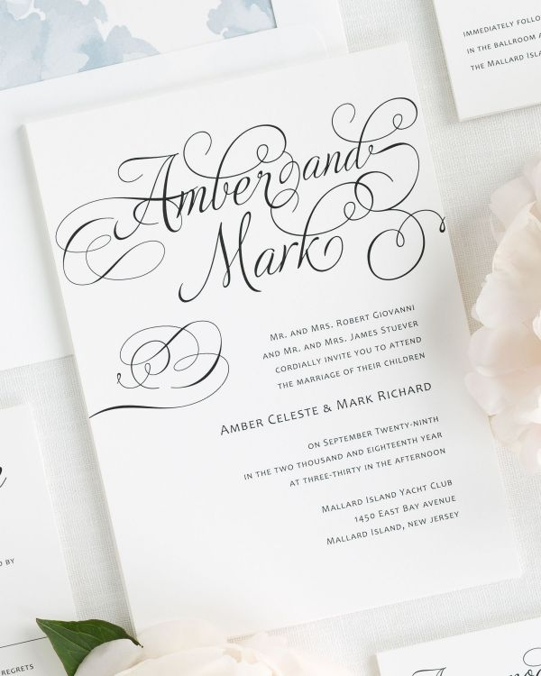 Charming Script Wedding Invitations