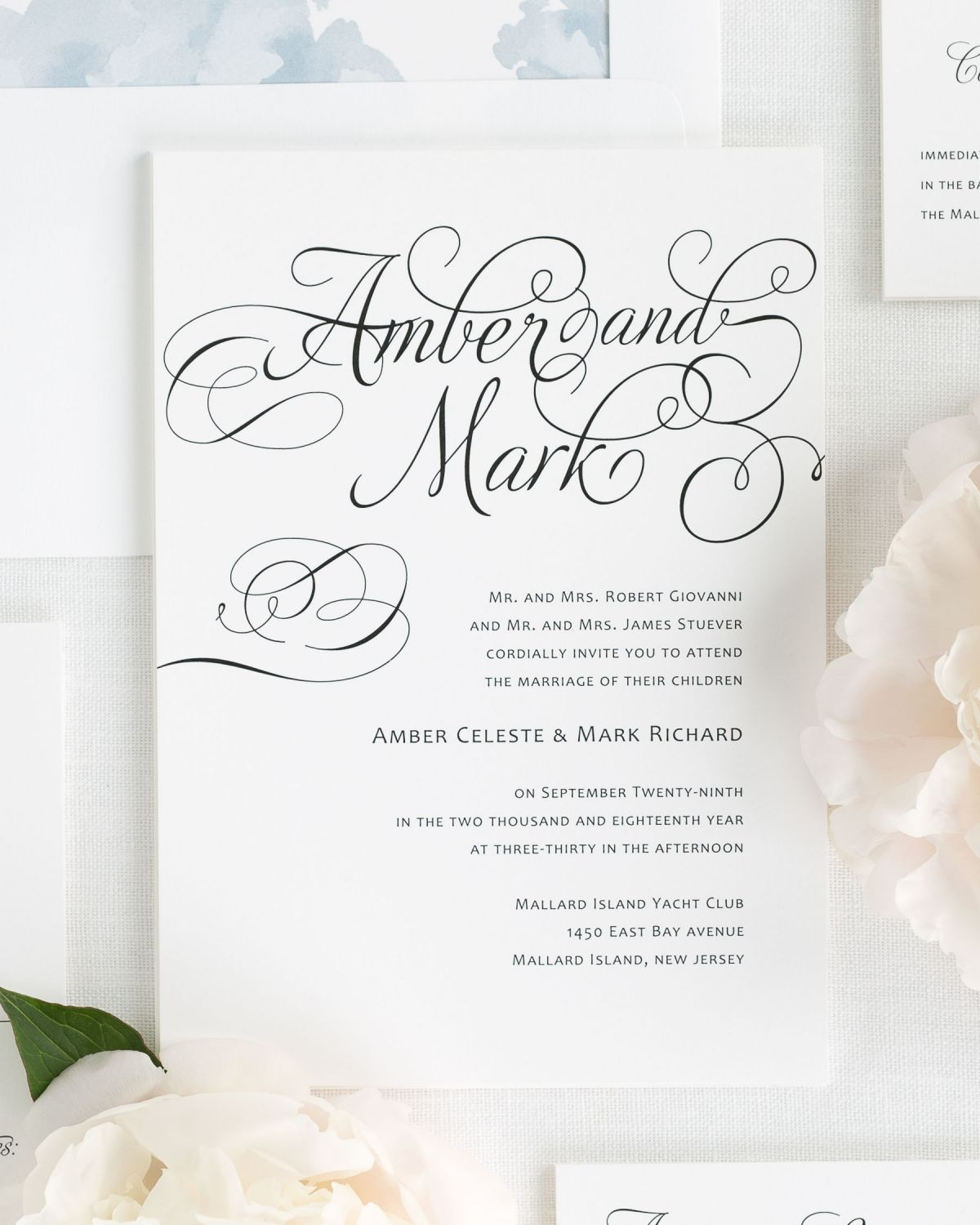 Wedding Invitations with Large Script Names