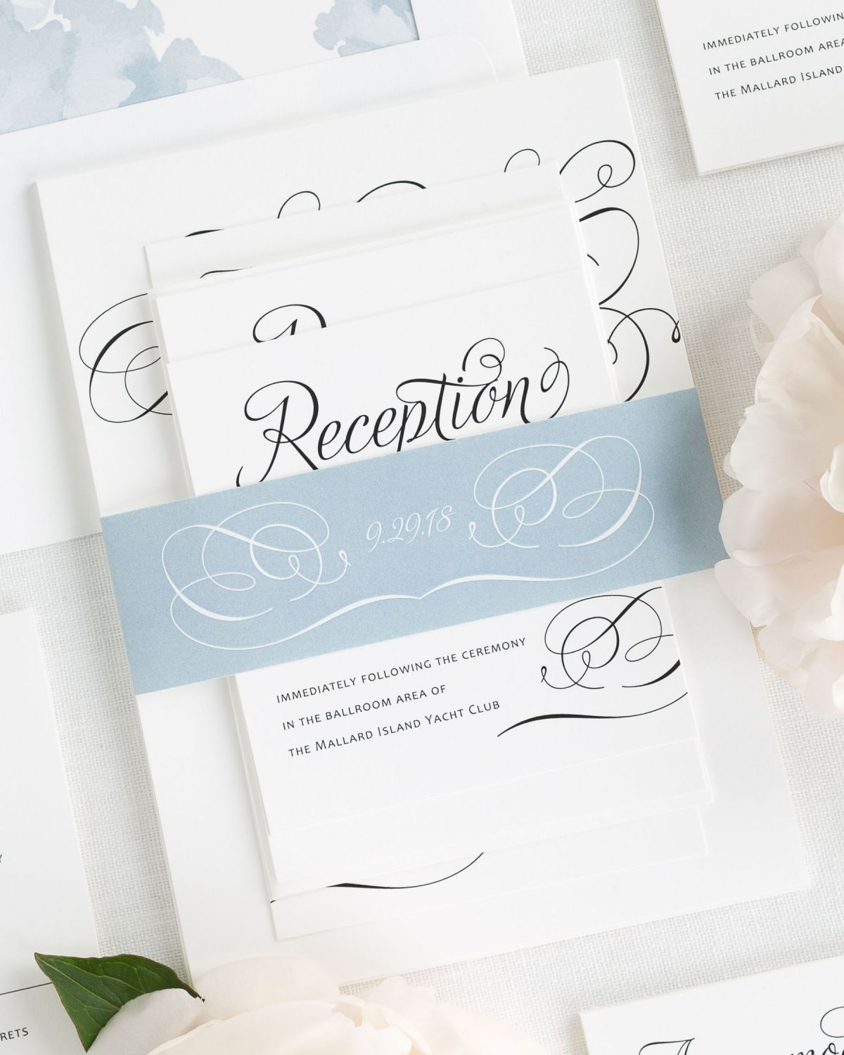 Dusty Blue Wedding Invitations with Belly Band and Watercolor Peonies Envelope Liner