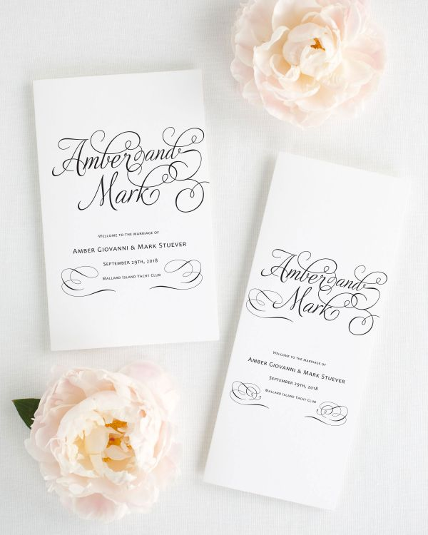 Charming Script Booklet Wedding Programs
