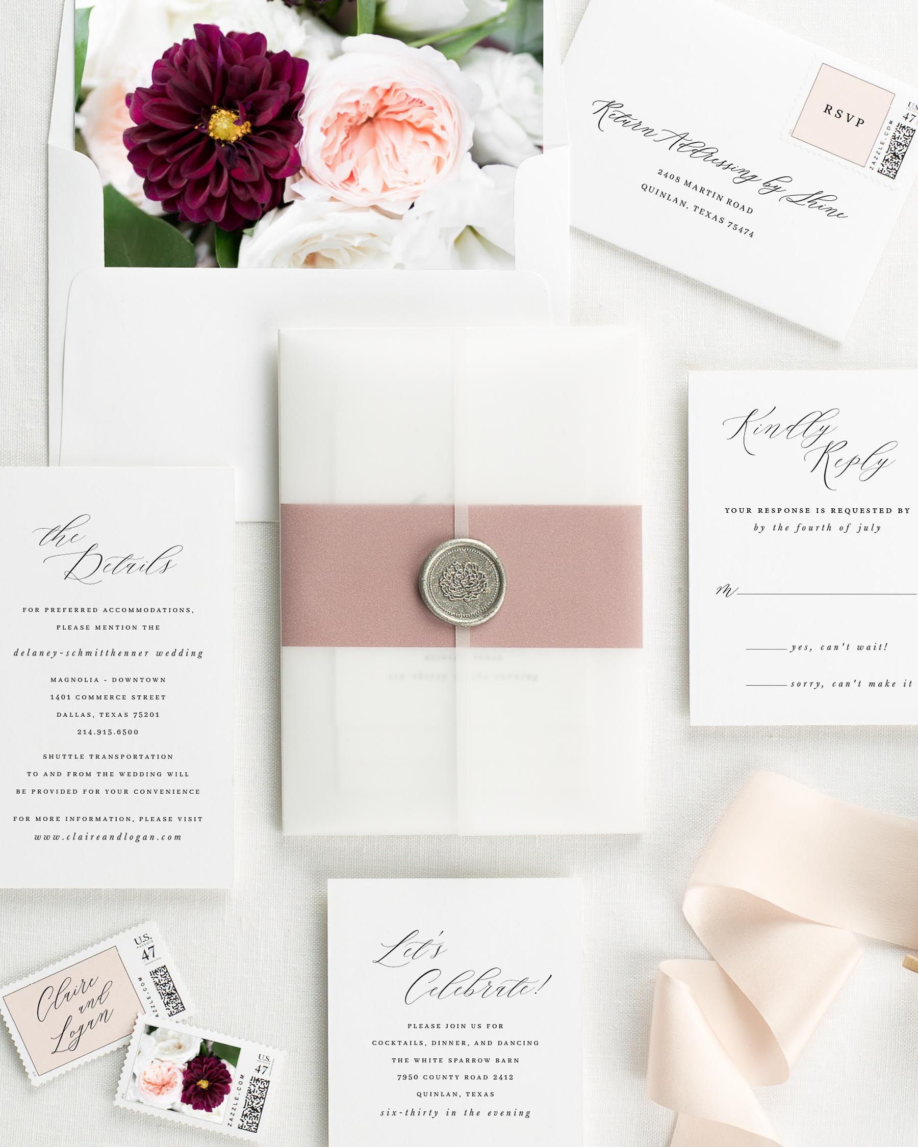 Claire Floral Wedding Invitations - Floral Wedding Invitations by Shine