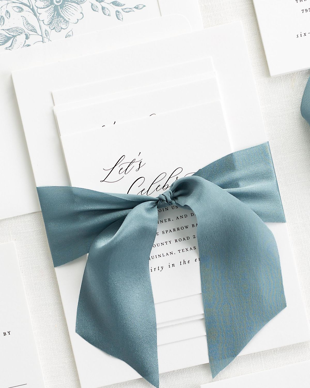 Complete Wedding Stationery Suite with Steel Blue Ribbon and Enclosures